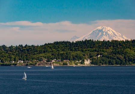 puget sound: Mount Ranier from Puget Sound Stock Photo