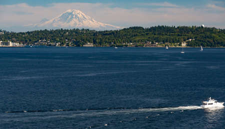 puget sound: Mount Ranier from Puget Sound on a sunny July day.