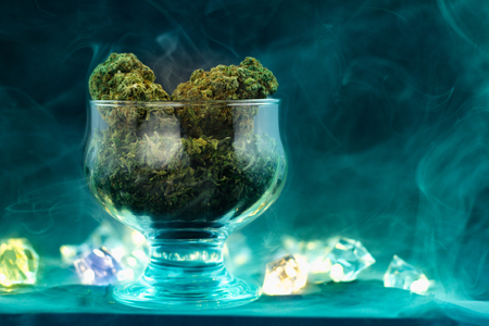 Medical Marijuana in the glass cup.