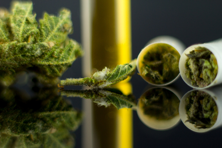 Medical Oil and Tablets of Cannabis - marijuana flower in capsules and oil cannabis on the mirror black background.