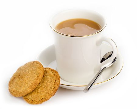 Tea and biscuits - high-key studio shot Stock Photo - 246722