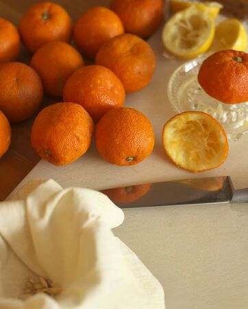 marmelade: Oranges being prepared for marmelade Stock Photo