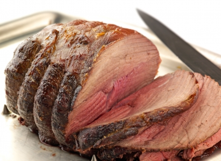 rare: succulent carved roast beef