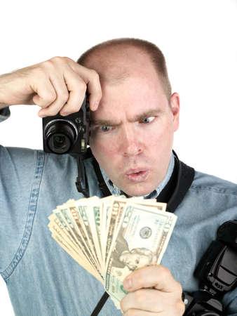 Wow Im a rich photographer - a successful photographer checks his earnings Banco de Imagens