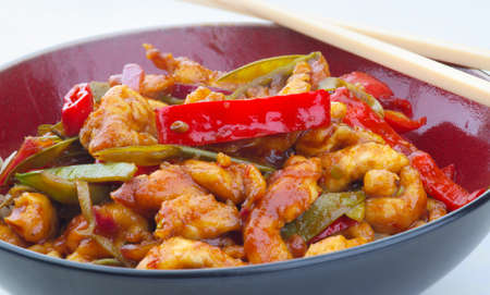 tout: Lemon chicken; a delicious fresh stir fry made from chicken slices coated in seasoned flour, with mange tout, peppers, chili sauce, honey and lemon.  Home made for this shot.