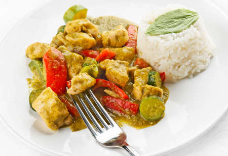 thai pepper: Thai Green Chicken curry with rice and basil