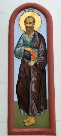 paul: Bucharest Romania: fresco of St Paul outside St Peter and St Paul church Herastrau