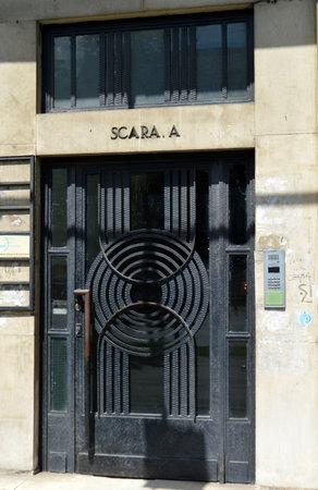 apartment block: Bucharest Romania: Art Deco door to apartment block