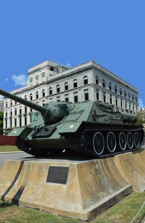 armaments: Havana Cuba: SAU100 autopropelled cannon used by Fidel Castro during Bay of Pigs Invasion