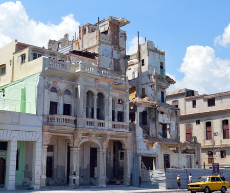dilapidation: Havana Cuba: Demolition of ruined building on Malecon