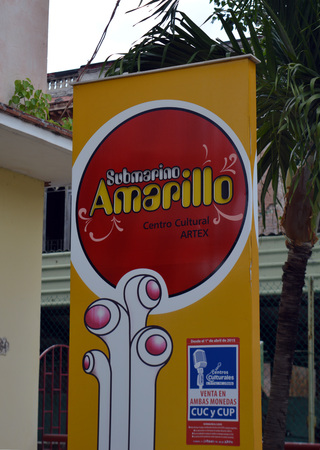 Havana Cuba: Yellow Submarine Submarino Amarillo Cultural Centre beside John Lennon Park