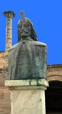 princely: Bust of Vlad Tepes Dracula in Curtea Veche. Princely Court, Bucharest, Romania