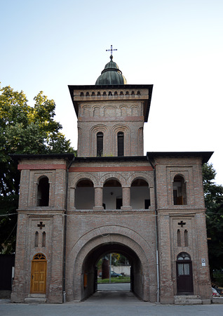 archways: The rear view of the entrance to the Antim Monastery complex built by Archbishop Mitropolitan Antim Ivreanu in Brancovan Brancovean style between 1713 and 1715. Stock Photo