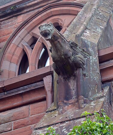 tay: Detail of Gargoyle and flying buttress on Middle Church, Tay Street, Perth, Scotland
