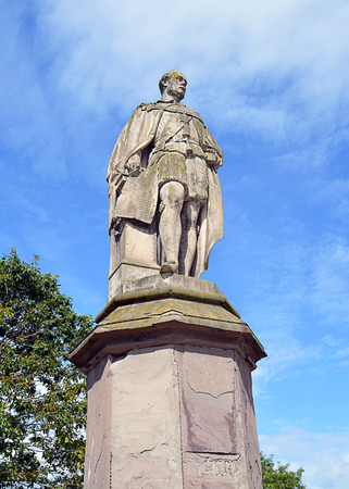 queen victoria: Statue of Prince Albert consort to Queen Victoria overlooking Charlotte Street at the southern end of the North Inch in Perth. He is wearing the robes of the Order of the Thistle and holding the plans for the Crystal Palace in London. The statue, the work Editorial