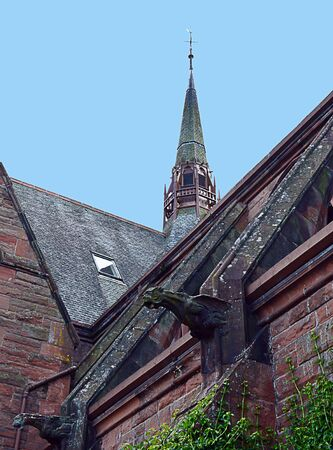 gargoyles: Architectural details from the old Middle Church in Tay Street, Perth, now converted to flats: steeple, flying butttresses and gargoyles