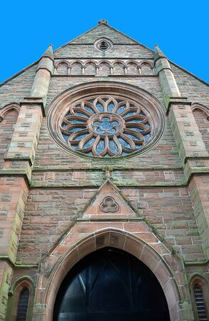 tay: North gable of the former Middle Church in Tay Street, Perth, Scotland closed in 1965. now converted to flats showing rose window.