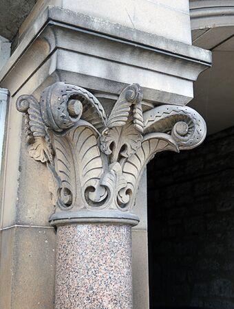 corinthian column: A sandstone and granite Corinthian column, early 19th century, photographed in Perth, Scotland