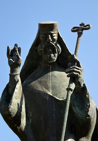 Bucharest, Romania: Statue of St Antim Stock Photo