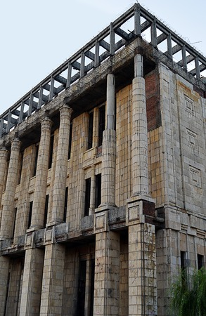 dilapidation: Unfinished headquarters of the Romanian Academy Academia Romania in Bucharest, Romania