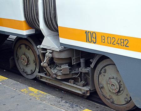 tramcar: Cloe-up of tramcar wheels in Bucharest, Romania