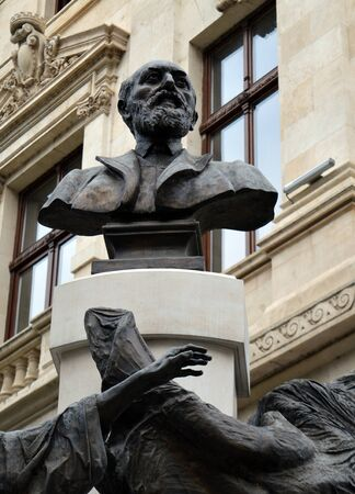 central bank: Eugeniu Carada statue outside the Romanian central bank in Bucharest, an institution he founded