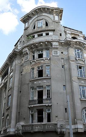 dilapidation: Dilapidated Royal Palace Hotel Hotelul Palas, Bucharest, Romania