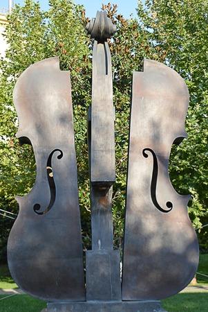 fiddles: The Broken Violin sculpture  in Piata Coltea, Bucharest, Romania
