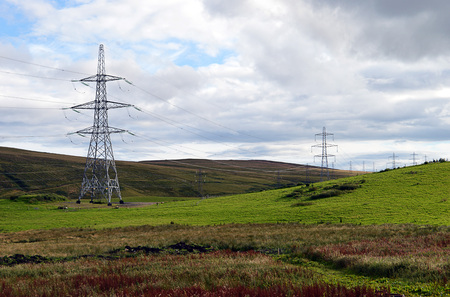 powerline: Electricity pylons, part of the Beauly to Denny powerline, near Buchanty, Perthshire, Scotland