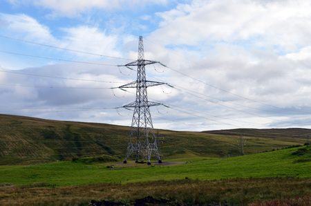 Electricity pylon in beauty spot, Perthshire, Scotland