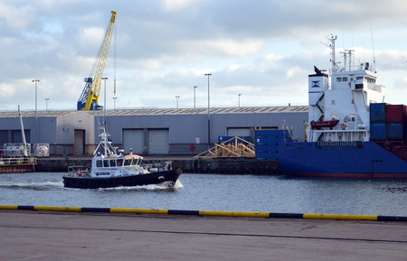 returning: Aberdeen Harbour pilot boat returning to Regent Quay, Aberdeen, Scotland Editorial