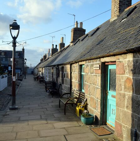 east end: Footdee Fittie,  old fishing village at east end of Aberdeen Harbour with small low-ceilinged cottages