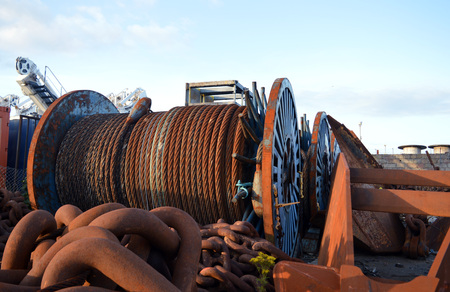 largely: Yard with scrap metal, largely from the oil and gas industry, by Aberdeen Harbour, Scotland. Stock Photo