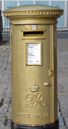katherine: Golden Postbox  Castlegate Aberdeen, commemorating Katherine Graingers gold medal at Londdon Olympics, 2012