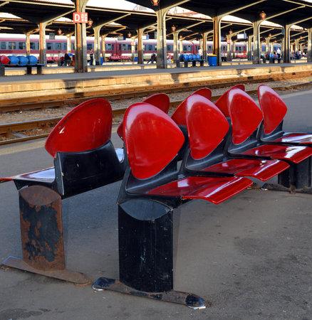 nord: Empty passenger seating on a platform at Bucharests Main station, Gara de Nord Editorial