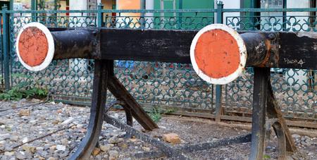 buffers: Railway buffers at the end of the platform at Gara de Nord, Bucharest, Romania Stock Photo