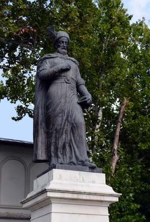 constantin: Statue of Constantin Brancoveanu outside St Georges church, Bucharest, Romania