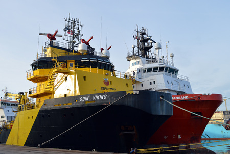 odin: The Danish registered Odin Viking firefighting vessel moored at Aberdeen Habour, Scotland