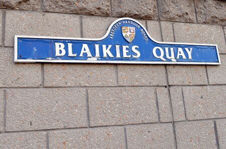 quay: Sign for Blaikies Quay, named for 19th Century Aberdeen Provost, at Aberdeen Harbour, Aberdeen, Scotland