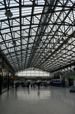 concourse: Iron and glass roof of Aberdeen Station Editorial