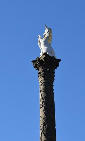 corinthian column: White unicorn atop Corinthian column on the Mercat Market Cross in the Castlegate, Aberdeen, Scotland