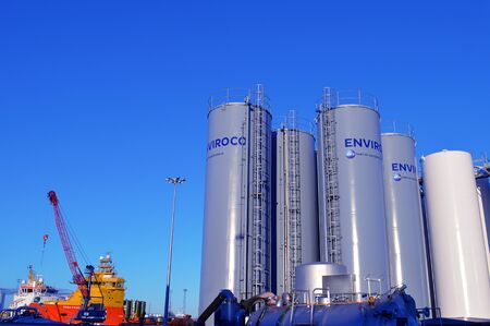 storage tanks: Drilling mud storage tanks operated by Enviroco stand on the Torry side of the harbour. From here 85 of the drilling mud can be recycled. Editorial