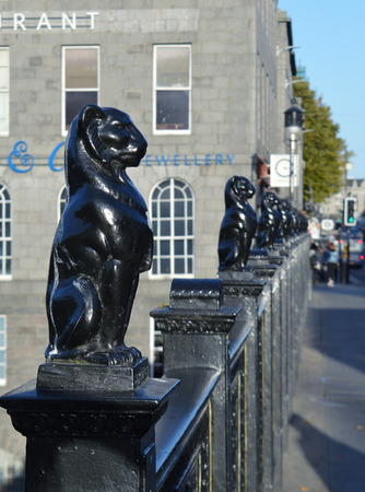 kelly: Kellys Cats, a sculptural representation of Aberdeen Citys armorial leopards, by William Kelly, on Union Bridge, the worlds largest single-span granite bridge, Aberdeen. Scotland