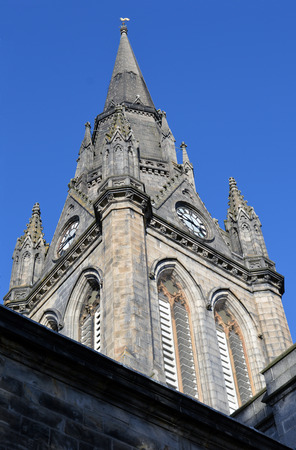 mention: The gothic style tower of St Nicholas, the mither kirk mother church of Aberdeen, Scotland. The tower is from the 1870s but the earliest mention of the church is in 1157. Stock Photo