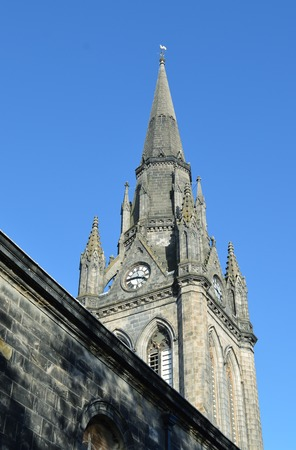 kirk: The gothic style tower of St Nicholas, the mither kirk mother church of Aberdeen, Scotland. The tower is from the 1870s but the earliest mention of the church is in 1157. Stock Photo