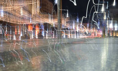 trails of lights: Light trails from Christmas lights, Bucharest, Romania