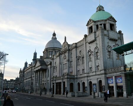 damnation: ABERDEEN, SCOTLAND - DECEMBER, 2016: His Majestys Theatre stands on Rosemount with the Central Library and St Marks Church, traditionally known in Aberdeen as education, salvation and damnation. Editorial