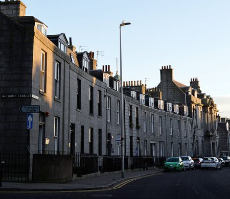 masonic: Winter sun illuminates granite buildings including the Masonic Temple on Crown Street, Aberdeen Scotland.
