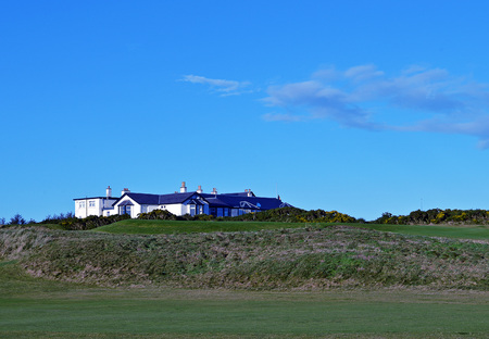golfcourse: ABERDEEN, SCOTLAND: 23 DECEMBER 2015: The clubhouse at the Royal Aberdeen Golf Club basks in winter sunshine. Editorial