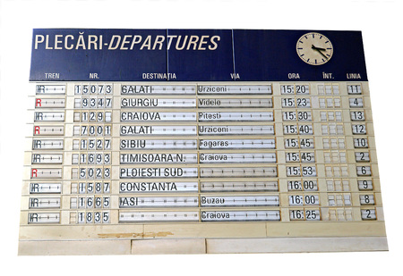 departures: Indicator board showing departures of trains from Bucharest station, Romania